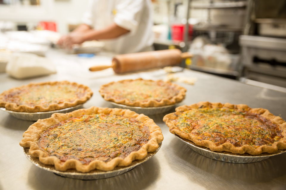 quiches being prepared